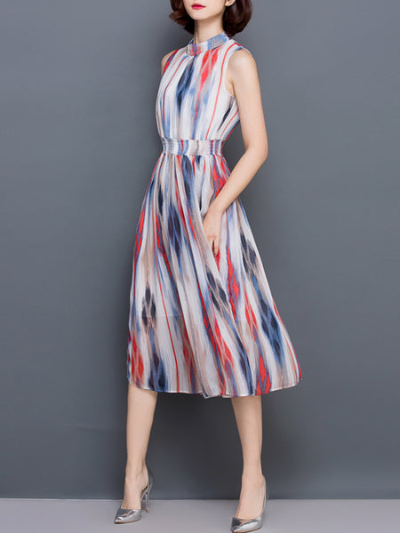 Casual Band Collar Elastic Waist Hollow Out Printed Chiffon Maxi Dress