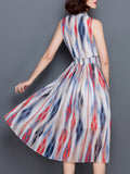 ByChicStyle Casual Band Collar Elastic Waist Hollow Out Printed Chiffon Maxi Dress