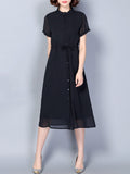 ByChicStyle Casual Band Collar Drawstring Single Breasted Plain Chiffon Maxi Dress