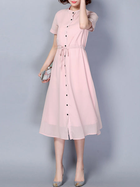 Casual Band Collar Drawstring Single Breasted Plain Chiffon Maxi Dress