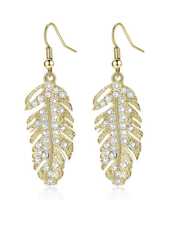 Feather Rhinestone Earring - Bychicstyle.com