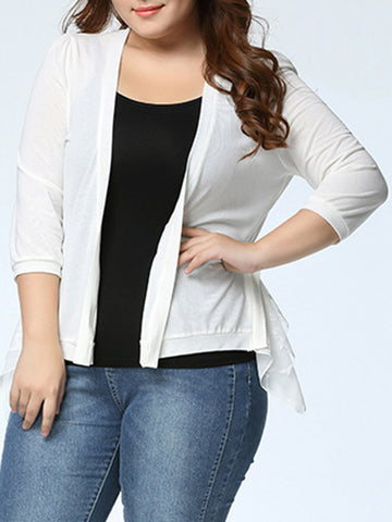 Casual Asymmetric Hem Tiered Plain Plus Size Cardigan