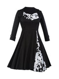 ByChicStyle Casual Vintage Floral Printed Plus Size Flared Dress
