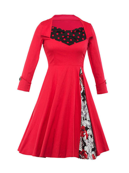 Casual Retro Patchwork Floral Polka Dot Plus Size Flared Dress