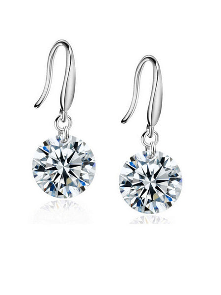 Pair Of Alloy Rhinestone Drop Earring - Bychicstyle.com