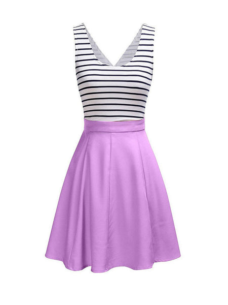 Cutout Color Block Striped Lovely Plus Size Flared Dress - Bychicstyle.com