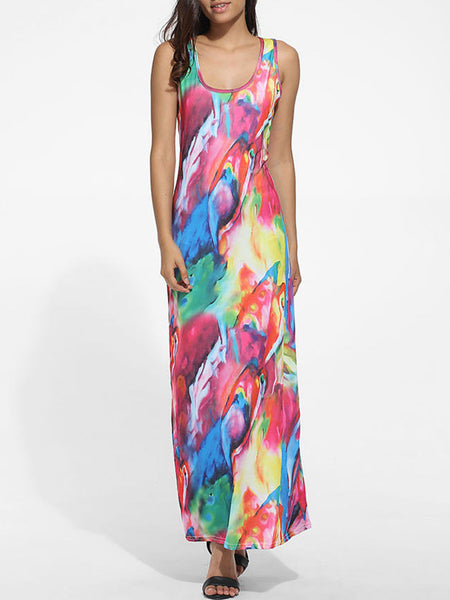 Scoop Neck Racerback Colorful Printed Maxi Dress - Bychicstyle.com
