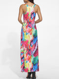 ByChicStyle Scoop Neck Racerback Colorful Printed Maxi Dress - Bychicstyle.com
