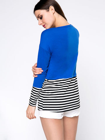 Casual Brief Style Striped Round Neck Long Sleeve T-Shirt - Bychicstyle.com