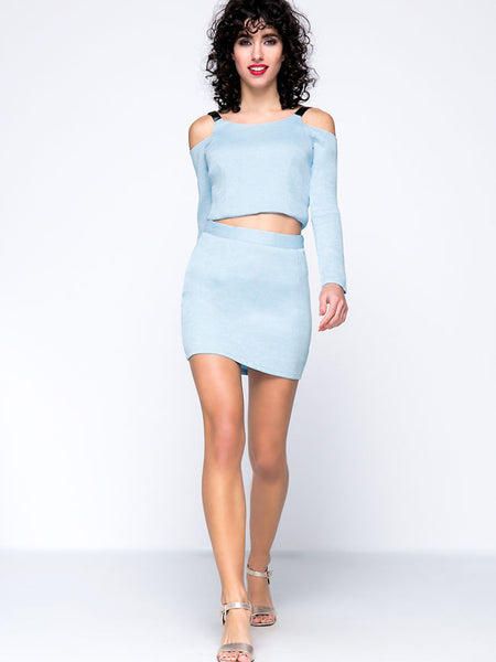 Solid Open Shoulder Crop Top And Pencil Skirt - Bychicstyle.com