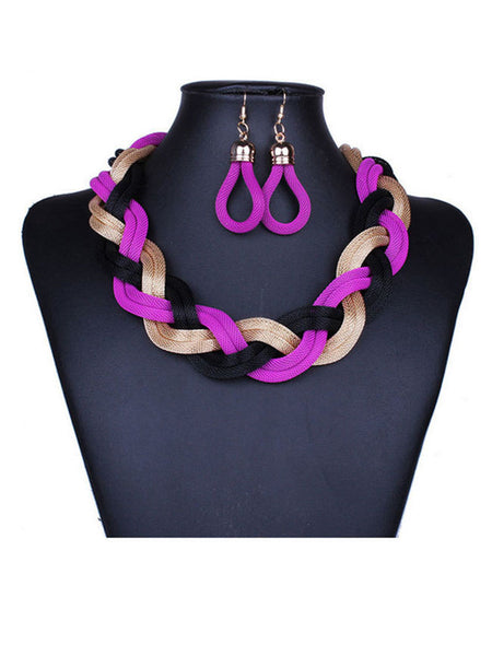 A Suit Of Stylish Braided Chain Necklace And Earring - Bychicstyle.com