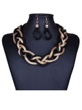 ByChicStyle A Suit Of Stylish Braided Chain Necklace And Earring - Bychicstyle.com
