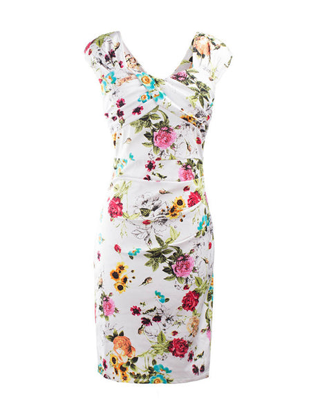 Ruched Sweet Heart Floral Printed Bodycon Dress - Bychicstyle.com