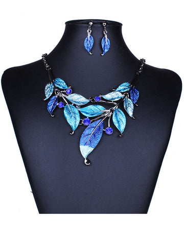 A Suit Of Leaf Necklace And Earring - Bychicstyle.com