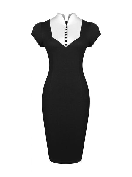Casual Band Collar Color Block Office Chic Bodycon Dress