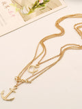 Casual Alloy Multilayer Anchor Pendant Necklace