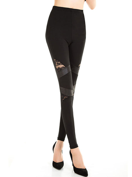 Patchwork Hollow Out Plain Legging In Black - Bychicstyle.com
