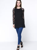 ByChicStyle Patchwork Solid Hollow Out Raglan Sleeve Blouse - Bychicstyle.com