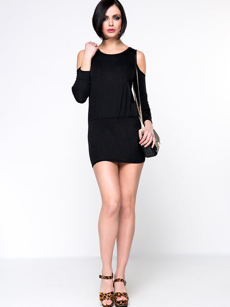 Hot Open Shoulder Plain Mini Bodycon Dress - Bychicstyle.com