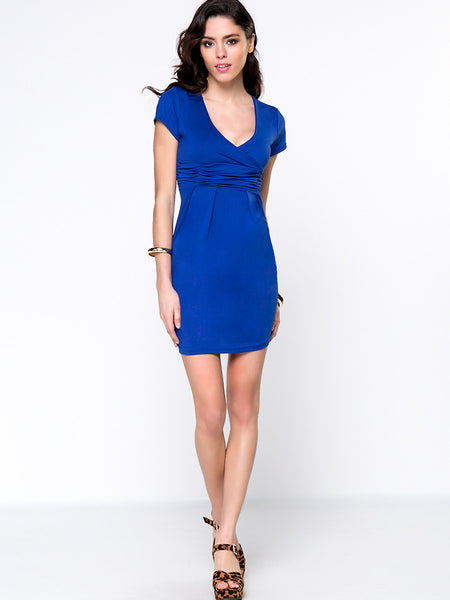 Sexy Ruched Deep V-Neck Solid Bodycon Dress - Bychicstyle.com