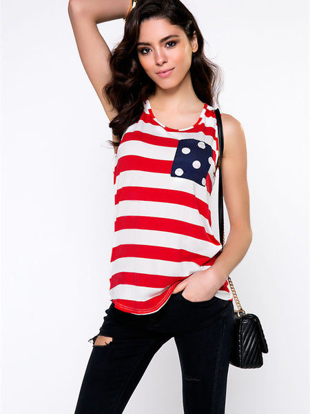 Striped Sleeveless T-Shirt With Polka Dot Bowknot And Pocket - Bychicstyle.com