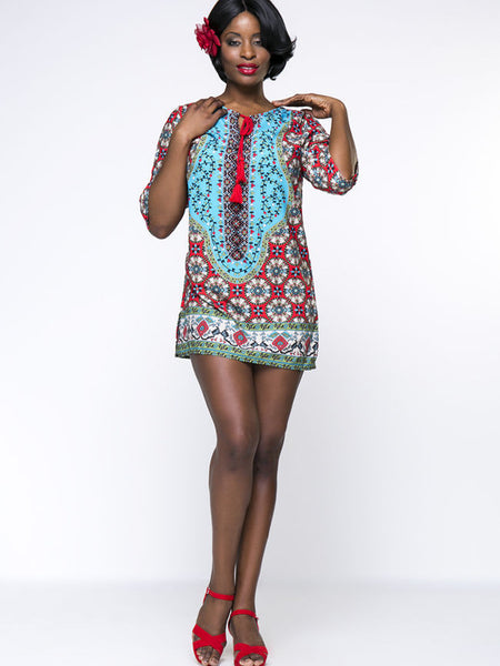 Tribal Printed Tassel Mini Plus Size Shift Dress - Bychicstyle.com