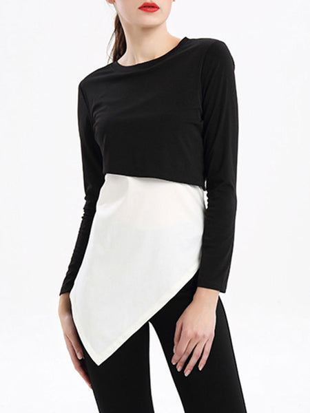 Crew Neck Asymmetric Hem Color Block Long Sleeve T-Shirt - Bychicstyle.com