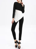 ByChicStyle Crew Neck Asymmetric Hem Color Block Long Sleeve T-Shirt - Bychicstyle.com