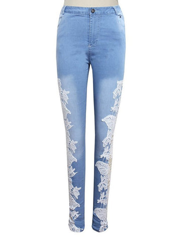 Decorative Lace Chic Light Wash Slim-Leg High-Rise Jean - Bychicstyle.com