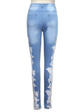 ByChicStyle Decorative Lace Chic Light Wash Slim-Leg High-Rise Jean - Bychicstyle.com