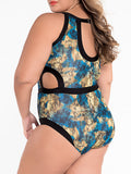 ByChicStyle Contrast Trim Cutout Plus Size One Piece In Animal Printed - Bychicstyle.com