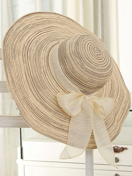 Striped Bowknot Beach Large Brimmed Hat - Bychicstyle.com