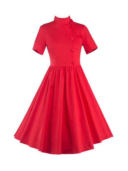 Casual Band Collar Bowknot Decorative Button Plain Plus Size Flared Dress