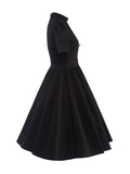 Streetstyle  Casual Band Collar Bowknot Decorative Button Plain Plus Size Flared Dress