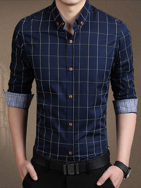 Check Men Shirt With Button Down Collar - Bychicstyle.com