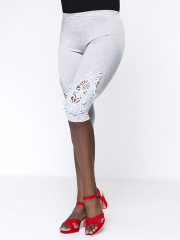 Solid Decorative Lace Midi Plus Size Legging - Bychicstyle.com