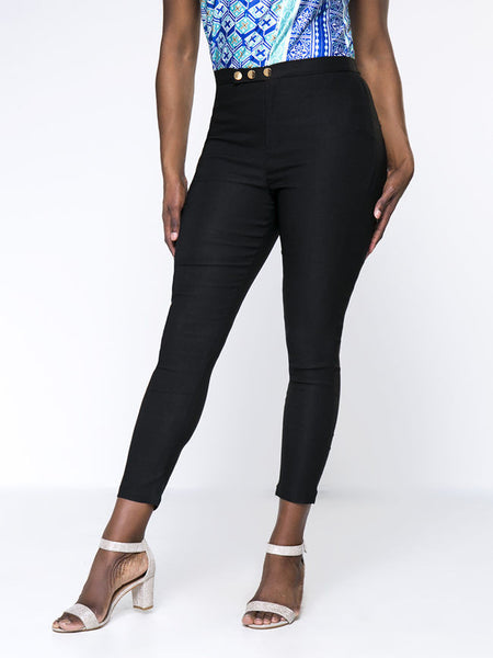 Simple Solid Pocket Slim-Leg Plus Size Pant - Bychicstyle.com