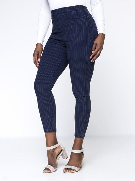 Vertical Striped Slim-Leg Plus Size Pant - Bychicstyle.com