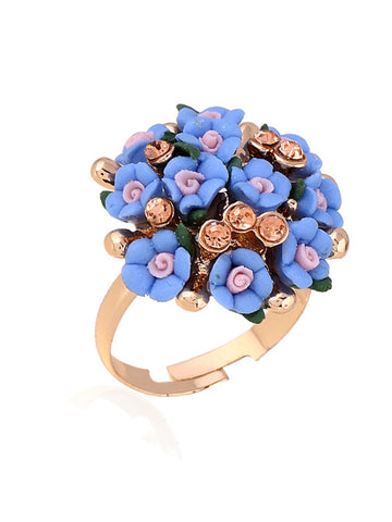Casual Acrylic Rhinestone Adjustable Bouquets Ring