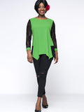 Streetstyle  Casual Asymmetric Hem Patchwork Hollow Out Plus Size Blouse