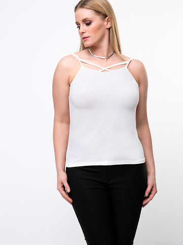 Casual Basic Spaghetti Strap Solid Plus Size T-Shirt
