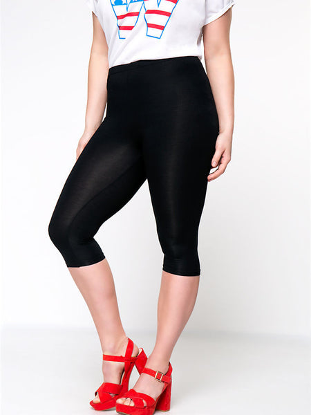 Streetstyle  Casual Basic Solid High-Rise Midi Plus Size Legging