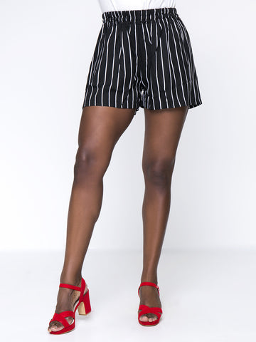 Black White Vertical Striped Pocket Plus Size Short - Bychicstyle.com