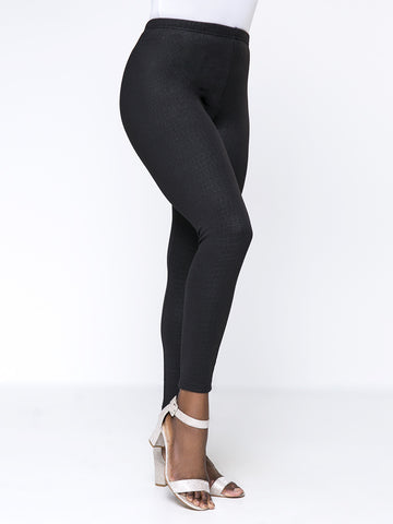 Solid Fleece Lined Plus Size Legging In Black - Bychicstyle.com