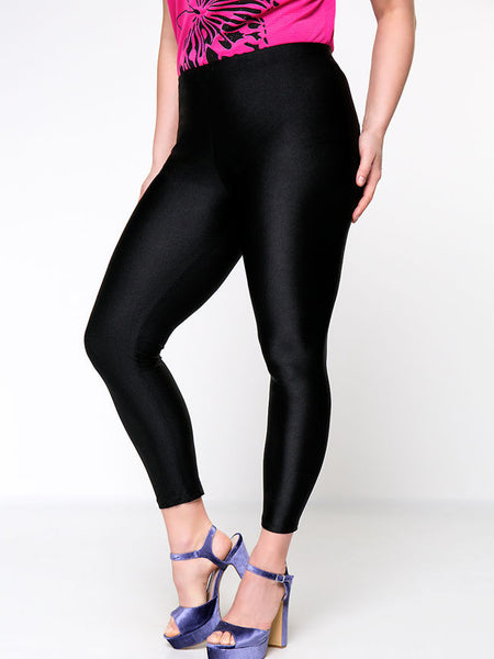 Casual Basic Solid High-Rise Plus Size Legging