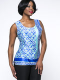 ByChicStyle Sleeveless Tribal Printed Round Neck Plus Size T-Shirt - Bychicstyle.com