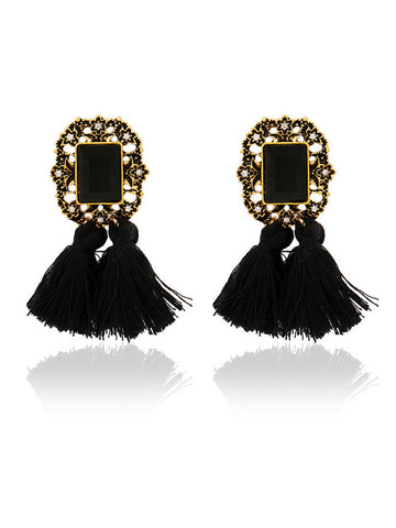 Faux Crystal Tassel Drop Earring - Bychicstyle.com