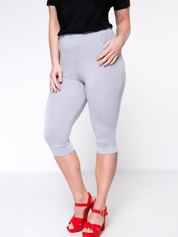 Casual Basic Solid Pocket Midi Plus Size Legging