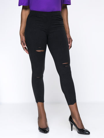 High Stretch Distressed Pocket Plus Size Legging - Bychicstyle.com
