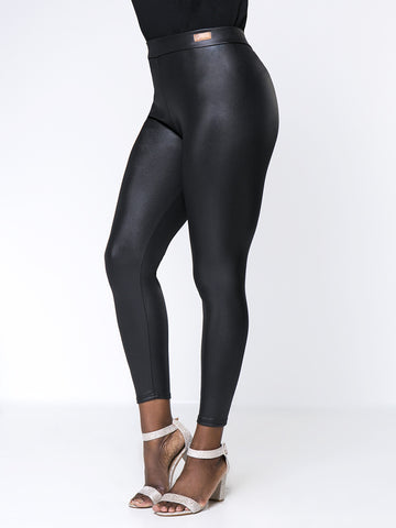 Solid Fleece Lined Faux Leather Plus Size Legging In Black - Bychicstyle.com